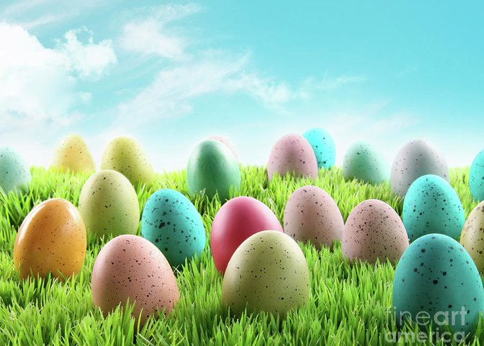 April Greeting Card featuring the photograph Colorful Easter Eggs In A Field Of Grass by Sandra Cunningham