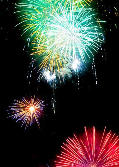 Fireworks Greeting Card featuring the photograph Colorful Explosions No3 by Weston Westmoreland