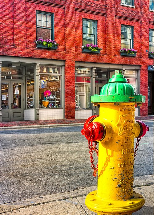 Asehville Greeting Card featuring the photograph Colorful Fire Hydrant On The Streets Of Asheville by Mark E Tisdale