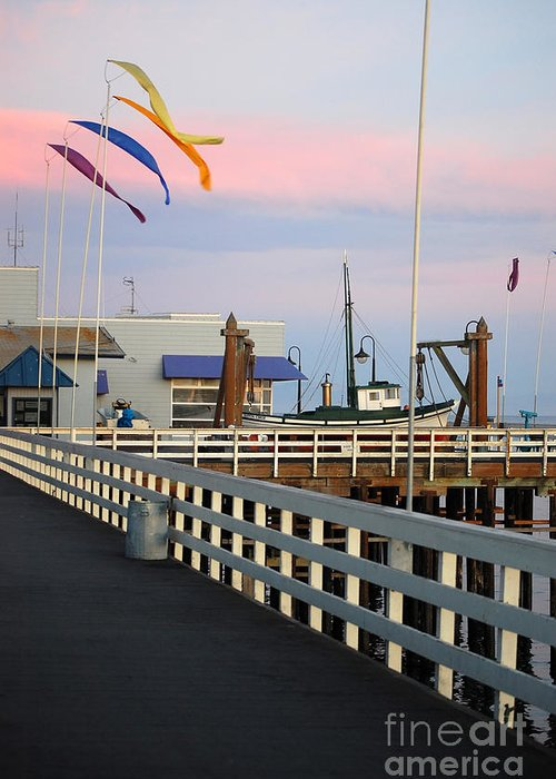 Santa Cruz Greeting Card featuring the photograph Colorful Flags And Wharf by Debra Thompson