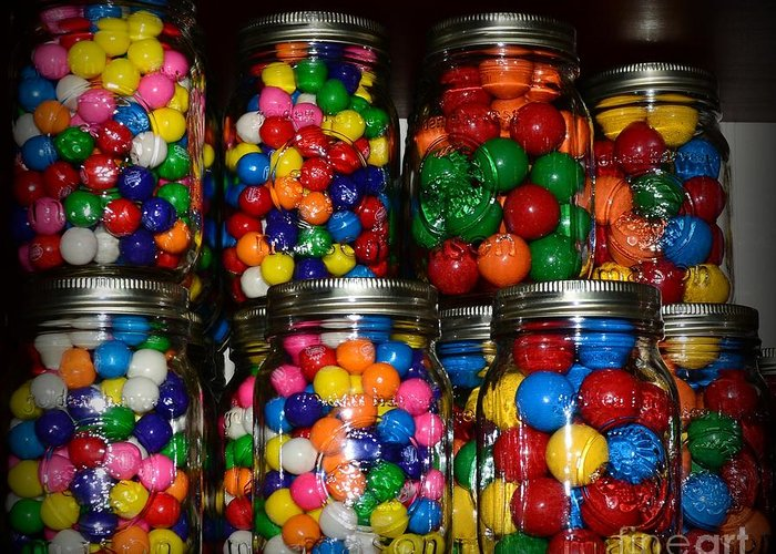 Paul Ward Greeting Card featuring the photograph Colorful Gumballs by Paul Ward