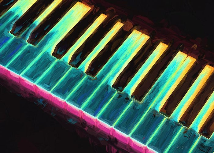 Piano Greeting Card featuring the painting Colorful Keys by Bob Orsillo