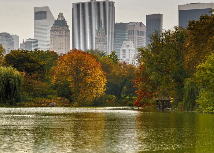 New York City Skyline Greeting Card featuring the photograph Colorful Magic In Central Park New York City Skyline by Silvio Ligutti