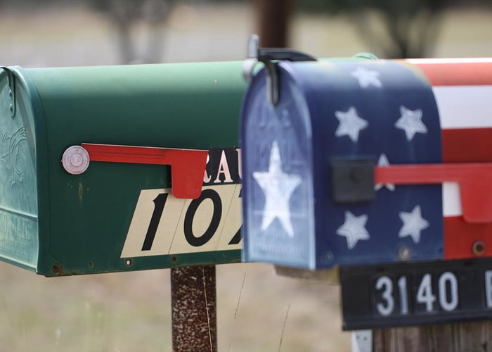 Mailboxes Greeting Card featuring the photograph Colorful Mailboxes by Terry Fleckney