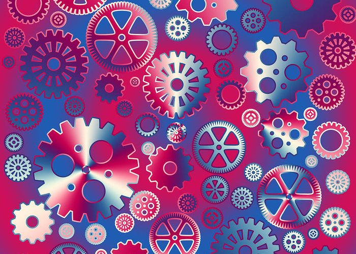 Industrial Greeting Card featuring the digital art Colorful Metallic Gears by Gaspar Avila