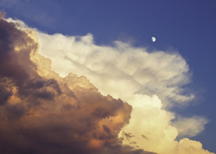 Sunset Greeting Card featuring the photograph Colorful Orange Magenta Storm Clouds Moon At Sunset by Keith Webber Jr