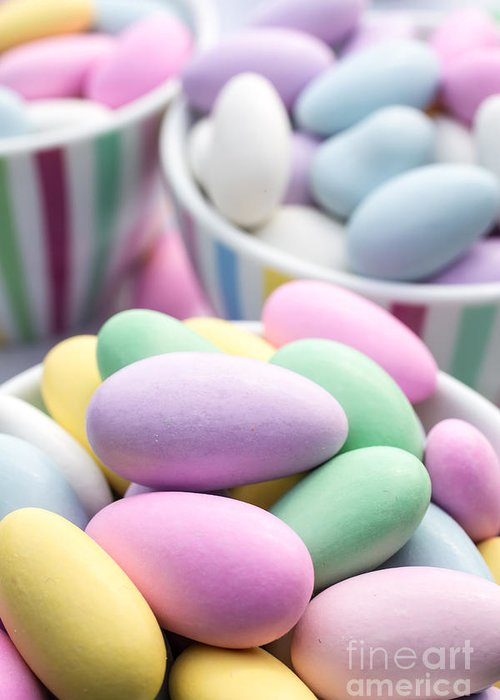 Food Greeting Card featuring the photograph Colorful Pastel Jordan Almond Candy by Edward Fielding