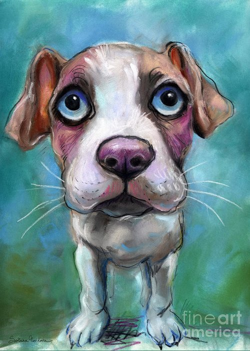 Pitty Greeting Card featuring the painting Colorful Pit Bull Puppy With Blue Eyes Painting by Svetlana Novikova