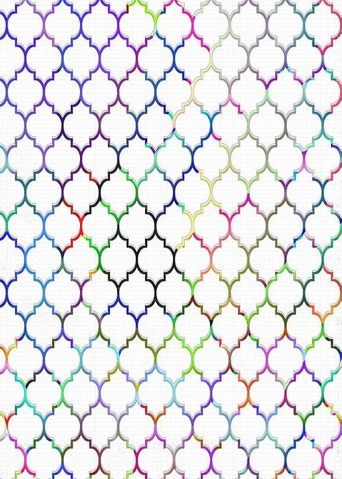 Colorful Greeting Card featuring the digital art Colorful Quatrefoil by Cassie Peters