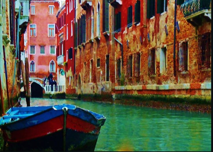 The Row Boat Greeting Card featuring the photograph Colorful Relics Of Venice by Jan Moore