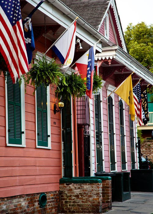 New Orleans Greeting Card featuring the photograph Colorful Row Houses by Susie Hoffpauir