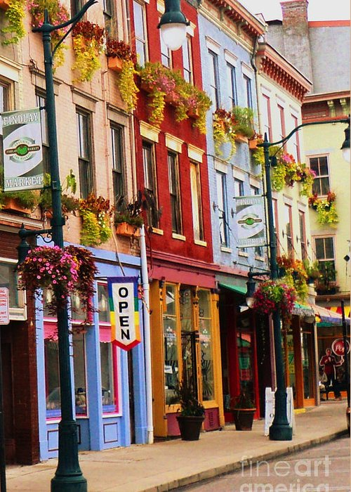 Cincinnati Greeting Card featuring the photograph Colorful Shops by Jennifer Kelly