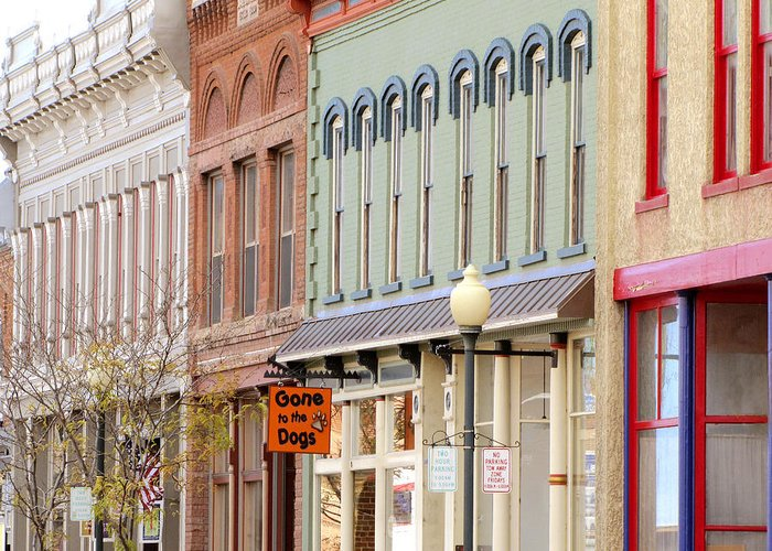 Shops Greeting Card featuring the photograph Colorful Shops Quaint Street Scene by Ann Powell