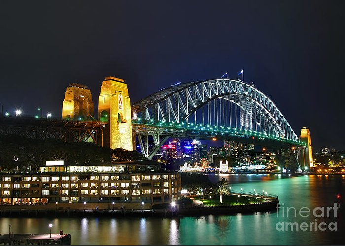 Photography Greeting Card featuring the photograph Colorful Sydney Harbour Bridge By Night by Kaye Menner
