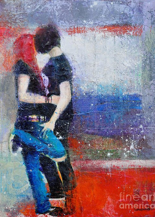 Colorful Teens Greeting Card featuring the painting Colorful Teen Together For Ever by Johane Amirault