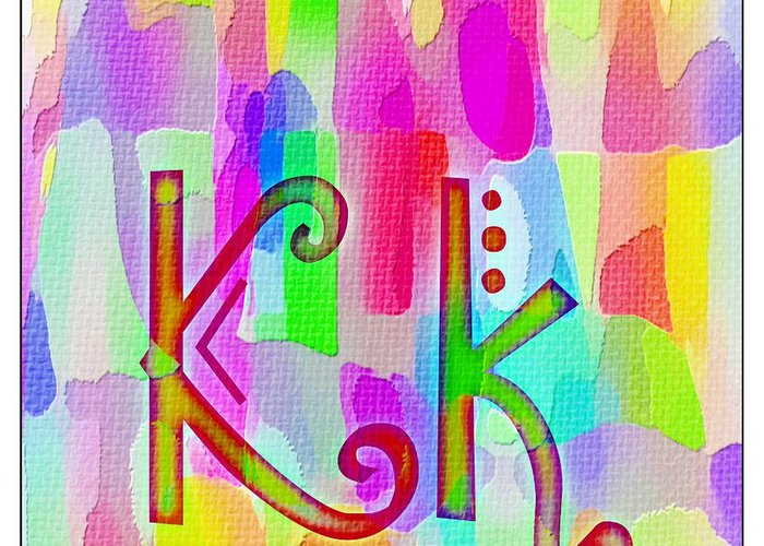 Colorful Texturized Alphabet Kk Greeting Card featuring the digital art Colorful Texturized Alphabet Kk by Barbara Griffin