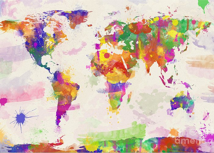 Colorful Watercolor World Map Greeting Card For Sale By Zaira - World map for sale