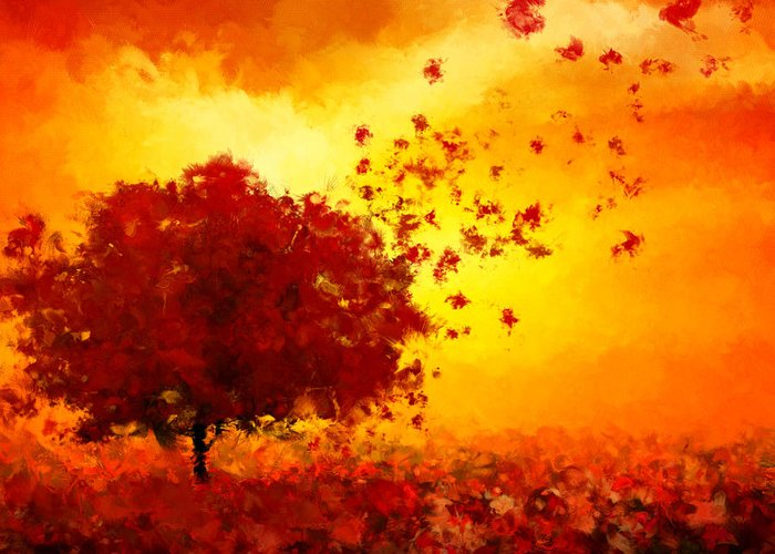 Red And Gold Leaves Greeting Cards