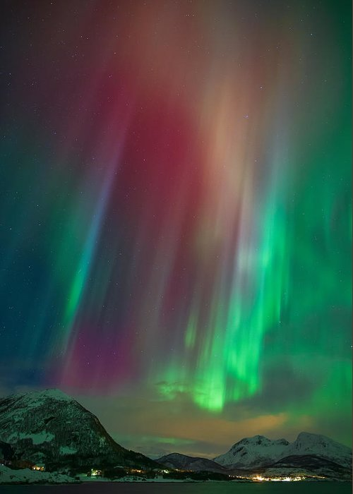 Aurora Greeting Card featuring the photograph Colors Of The Sea by Anders Hanssen