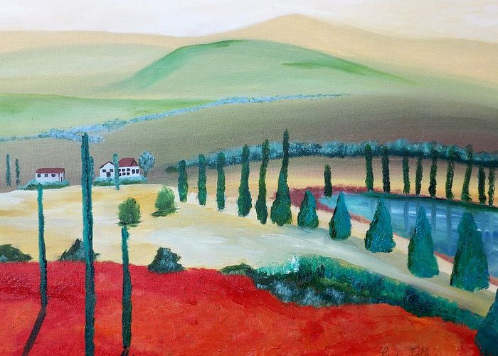 Italian Landscape Greeting Card featuring the painting Colors Of Tuscany by Linda Bright Toth