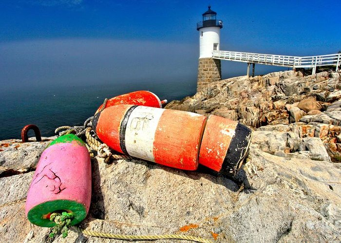 Robinson Point Lighthouse Greeting Card featuring the photograph Colors On The Rocks by Adam Jewell