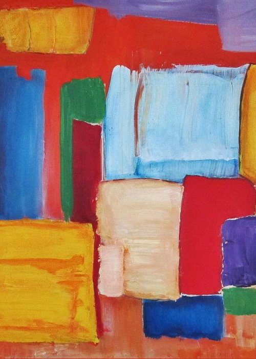 Abstract Greeting Card featuring the painting Colors by Paul Kilyanek