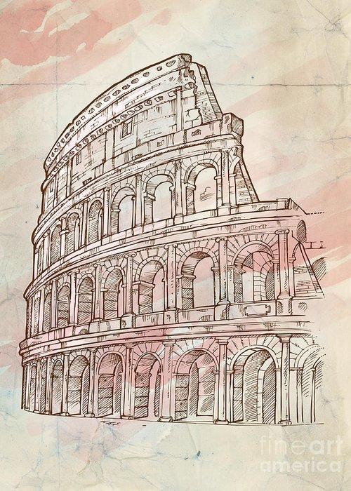 Colosseum Greeting Card featuring the digital art Colosseum Hand Draw by Domenico Condello