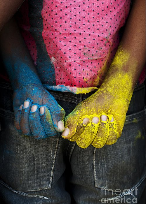 Indian Boy Greeting Card featuring the photograph Coloured Hands by Tim Gainey