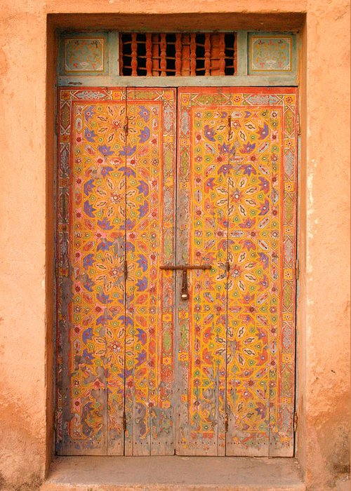 Door Greeting Card featuring the photograph Colourful Entrance Door Sale Rabat Morocco by Ralph A Ledergerber-Photography