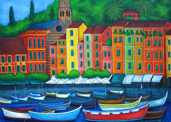 Portofino Greeting Card featuring the painting Colours Of Portofino by Lisa Lorenz