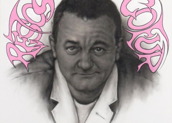 Coluche Greeting Card featuring the drawing Coluche by Guillaume Bruno