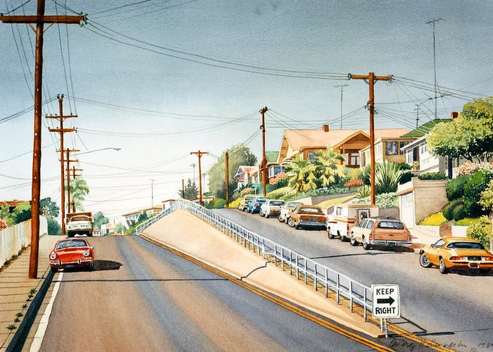 Columbia Street Greeting Card featuring the painting Columbia Street Middletown by Mary Helmreich