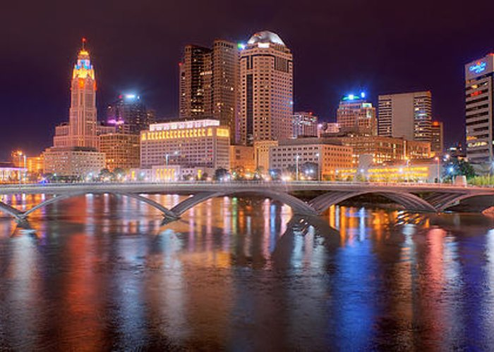Columbus Skyline Greeting Card featuring the photograph Columbus Skyline At Night Color Panorama Ohio by Jon Holiday