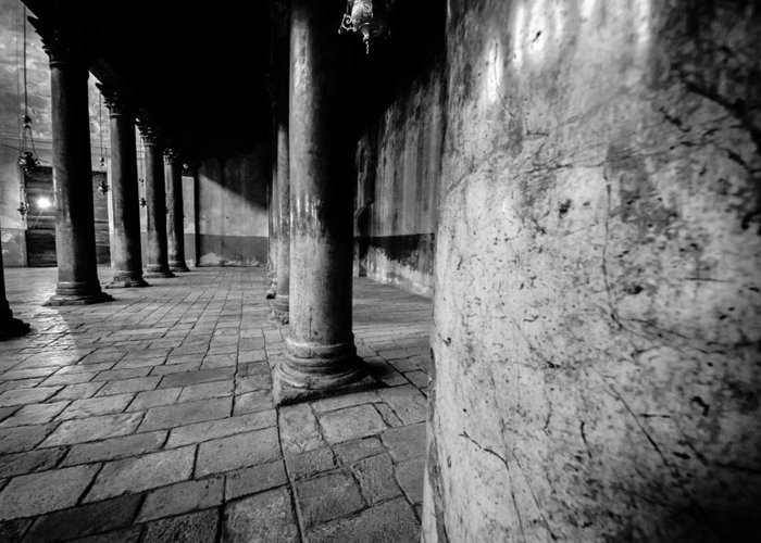 Israel Greeting Card featuring the photograph Columns At The Church Of Nativity by David Morefield