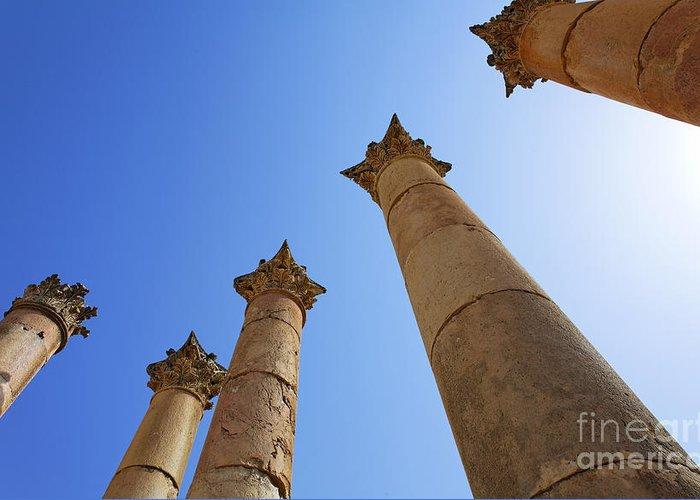 Columns Greeting Card featuring the photograph Columns At The Temple Of Artemis At Jerash Jordan by Robert Preston