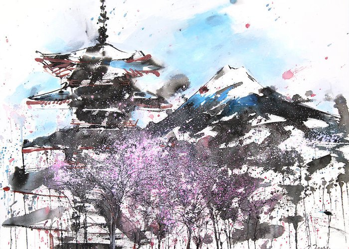 Woods Greeting Card featuring the painting Combination No.32 Spring Time Mt.fuji And Pagoda by Sumiyo Toribe