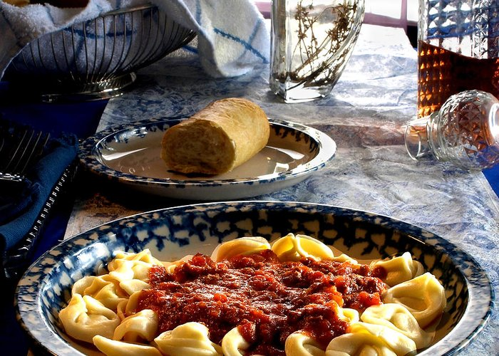 Tortellini Greeting Card featuring the photograph Come Dine by Camille Lopez