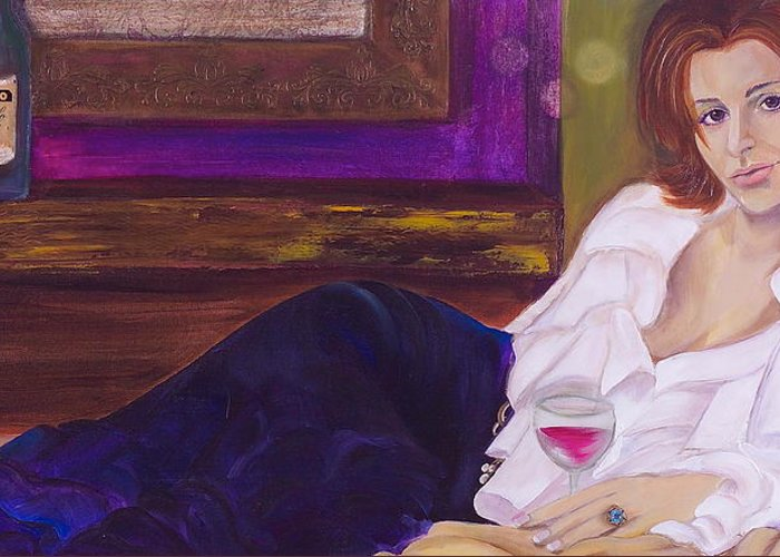 Woman Greeting Card featuring the painting Come Hither by Debi Starr