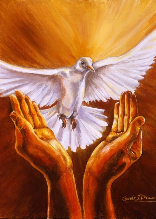 Animals Greeting Card featuring the painting Come Holy Spirit by Carole Powell