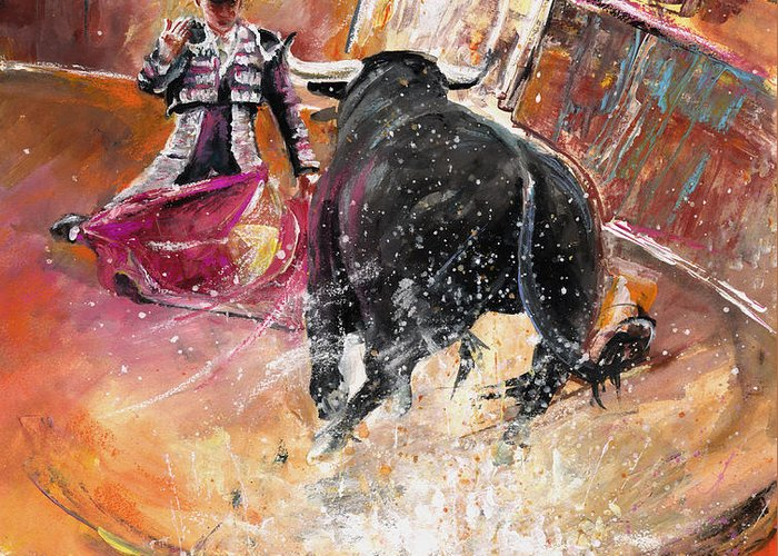 Bullfight Greeting Card featuring the painting Come If You Dare by Miki De Goodaboom