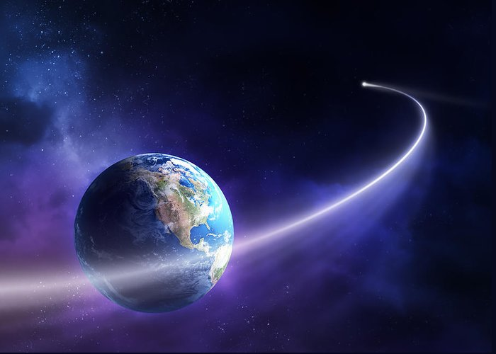 Art Greeting Card featuring the photograph Comet Moving Past Planet Earth by Johan Swanepoel