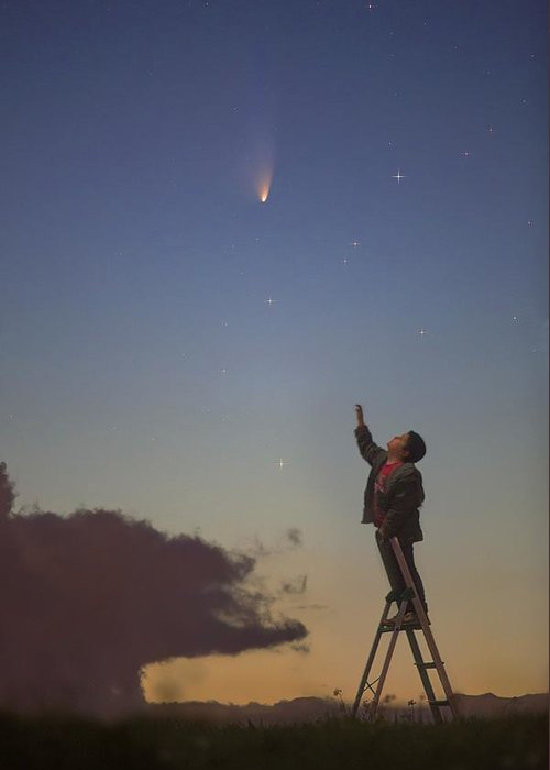 Comet Panstarrs Greeting Card featuring the photograph Comet Panstarrs And Child by Juan Carlos Casado (starryearth.com)