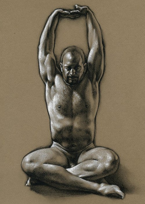 Male Greeting Card featuring the drawing Comfort 2 by Chris Lopez