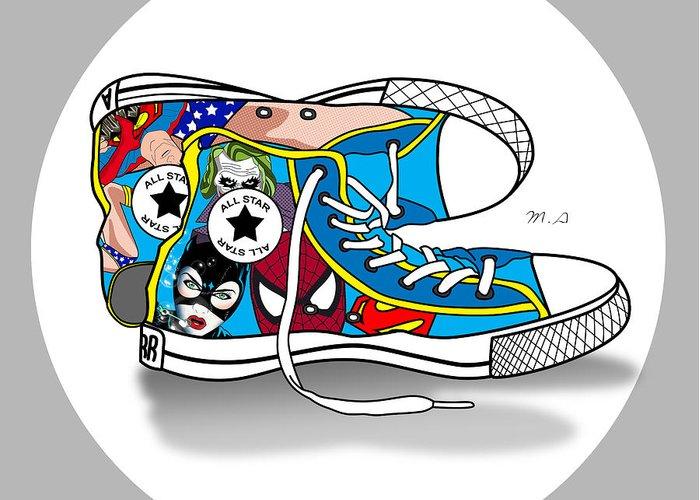 Comics Greeting Card featuring the digital art Comics Shoes 2 by Mark Ashkenazi