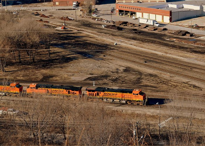 Train Greeting Card featuring the photograph Coming From The Train Yard by Karen Kersey