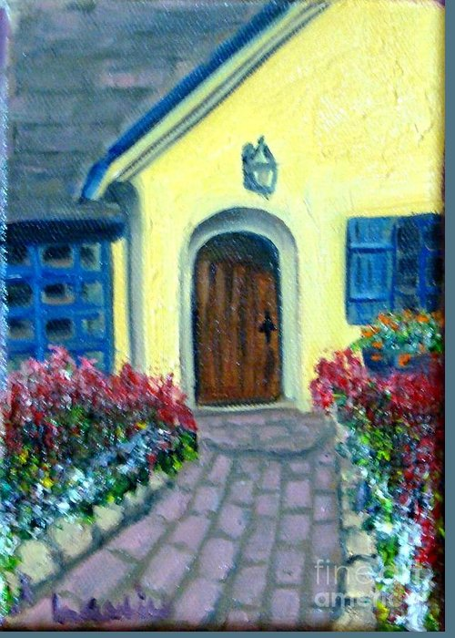 Cottage Greeting Card featuring the painting Coming Home by Laurie Morgan