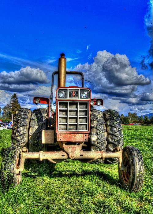 Vertical Greeting Card featuring the photograph Coming Out Of A Heavy Action Tractor by Eti Reid