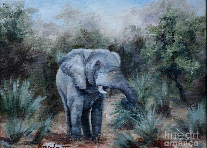 Wildlife Greeting Card featuring the painting Coming Through by Brenda Thour