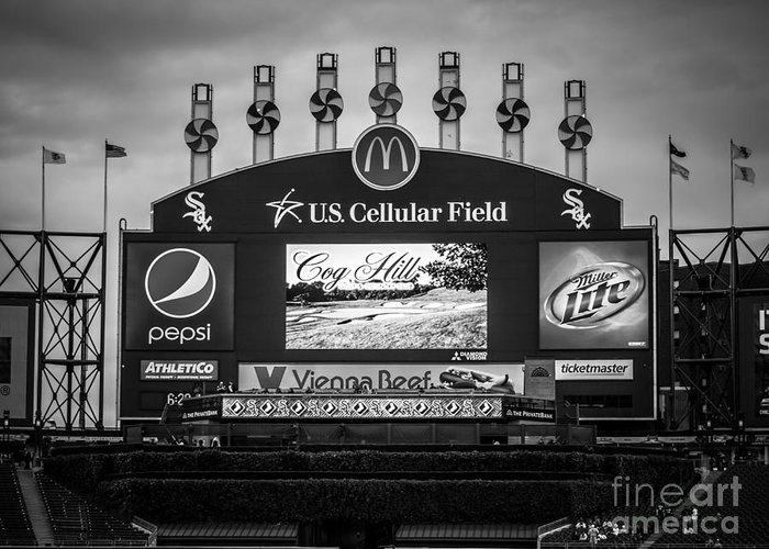 America Greeting Card featuring the photograph Comiskey Park U.s. Cellular Field Scoreboard In Chicago by Paul Velgos