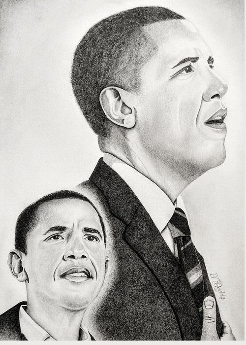 Barack Greeting Card featuring the drawing Commander In Chief by Timothy Gaddy